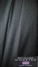 2.4mt Pure English worsted Black fine wool fabric,material for suits with label