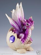 "Purple Baby Dragon Hatching From Egg Figurine Hatchling 5.25"" Detailed Resin NIB"