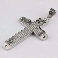 Mens Stainless Steel Big Heavy Huge Silver Color Cross Pendant 3""