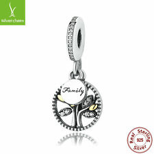 Authentic 925 Sterling Silver & 14K Gold Family Heritage CZ Pendant Dangle Charm