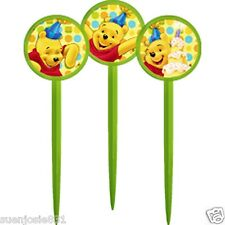 Disney Winnie Pooh 1st Birthday Dots Cupcake Picks 12pcs Toppers Decorations