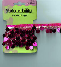One yard Hot Pink Sequin & Glass Beaded Ribbon Trim Sewing Craft Supply New!