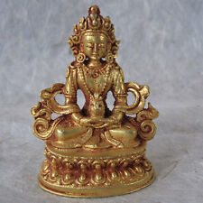 BEAUTIFUL SMALL FINE GOLD COPPER STATUE AMITAYUS LOST WAX NEPAL TIBET