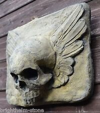 WINGED SKULL gothic WALL PLAQUE frost proof stone garden plaque ornament