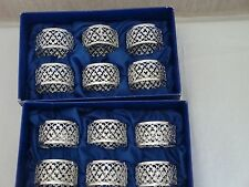 VINTAGE SILVER PLATED FILIGREE NAPKIN RINGS 12  BOXED MADE IN ENGLAND!! NEW!