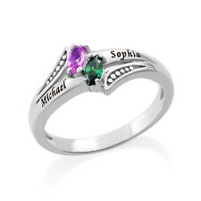 Engraved Birthstone Ring in 925 Sterling Silver