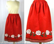 Vtg 70s Mexican Embroidery WOOL Ethnic Tribal Indian SKIRT L/XL