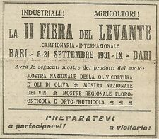 W5294 II Fiera del Levante - BARI - Pubblicità 1931 - Publicitè