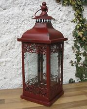 H.42cm**LATERNE*WINDLICHT*ROT*SHABBY*LANDHAUSSTIL*ANTIK STIL*ANTIKSTIL