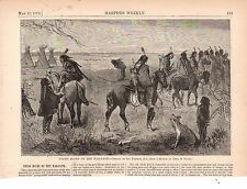1873 Harpers Weekly Print Native American - Indians on the warpath