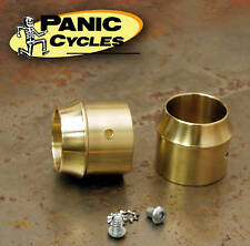 """SHORT"" BRASS EXHAUST TIPS FOR 2"" PIPES HARLEY TRIUMPH XS650 BOBBER CHOPPER"