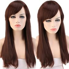"23""  Brown Wigs With Bangs Syntehtic Full Wig for Womens Ladies Hair Costume COS"