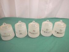 vintage Hazel Atlas 5 jars 5 lids nursery satin glass jars baby