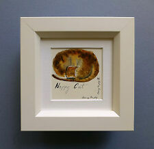 """Miniature Framed Original Line and Wash Watercolour """"Happy Cat""""."""