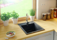 GRANITE BUILT IN SINK  WASTE 500x400mm 1.0 SINGLE BOWL BLACK KITCHEN SINK