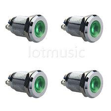 "4*12mm 1/2"" Green 12V LED Metal Indicator Pilot Dash Light Lamp"