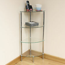 Hartleys 4 Tier Clear Glass Corner Side/End Table Shelf/Display Unit Lounge/Hall