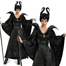 Deluxe Maleficent Black Devil Evil Queen Halloween Womens Fancy Dress Costume