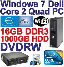 Windows 7 Dell Core 2 Quad Desktop PC Computer - 16GB DDR3 - 1000GB HDD - Wi-Fi