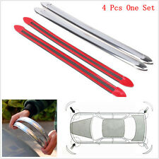 4x Anti-rub Protector Bar Bumper Body Corner Molding Trim Car Chrome Decor Strip