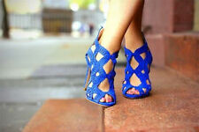 ZARA ROYAL BLUE LEATHER CRISS CROSS HIGH HEELS SANDALS SHOES US SIZE 9