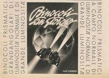 W0897 Binocoli prismatici SAN GIORGIO - Pubblicità 1943 - Advertising