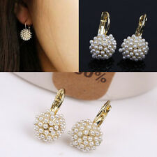 Women Elegant Pearl Ear Cuff Beads  Earrings Chic Gold Plated Drop Earings  MWUK