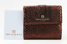 BRUNO MAGLI SELENE BURGUNDY LUXURY 6CC WALLET 100% PYTHON SKIN ITALY NEW # 28