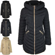 LADIES WOMENS ZIP UP LONG SLEEVE PADDED HOODED WINTER WARM CASUAL COAT SIZE