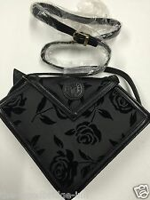BNWOT PERFECTO LADIES BLACK ROSE PATTERN V SHAPE SHOULDER BAG 3L