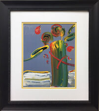 """Peter Max """"Abstract Series Flowers on Gray"""" Newly CUSTOM FRAMED Print Art POP"""