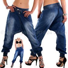 Haremshose Pumphose Boyfriend Pluder Sarouel Aladin Harem Kordelzug Jeans XL-42