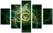 5 Panel Total 115x80cm Large ABSTRACT  ART CANVAS  DIGITAL BOW Green