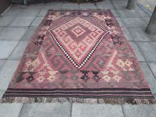 Kilim Old Traditional Hand Made Afghan Oriental Large Kilim Brown Wool 297x205cm