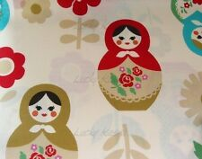 Japanese Kawaii Large Matryoshka Natural  Fabric Half Yard