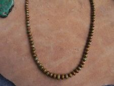 """Green Turquoise w Brown Matrix & Baby Olive Shell Heishi Necklace 16"""" Navajo"""