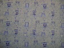 Blue Owl in policotone per Bambini Stampa Vestito in Tessuto 112cms Ampia Venduto al Metro