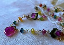 Handcrafted Pink Green and Watermelon Tourmaline 14K Gold Filled Necklace 20""