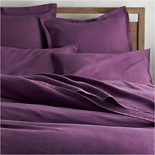 Crate & and Barrel LINO II PURPLE FULL/QUEEN F/Q DUVET COVER-NEW-Fabulous LINEN!