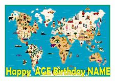 MAP OF THE WORLD PERSONALISED  CAKE TOPPER A4  EDIBLE ICED ICING FROSTING