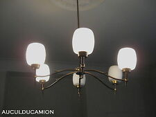 LUSTRE  DES  ANNEE 60  EN OPALINE BLANC & LAITON 6 BRANCHES  DECO &  COLLECTION