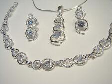 Solid 925 Sterling Silver Jewellery Set Cubic Zirconia Bracelet Earrings Pendant