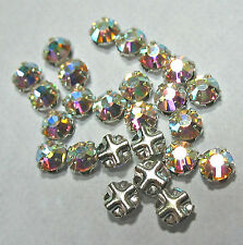 Preciosa Czech Rose Montees 3mm SS12 Silver Plate AB Crystal 25 Beads
