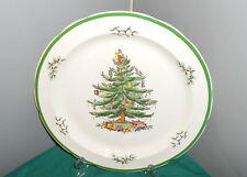 "Spode CHRISTMAS TREE and Holly 12"" Round Chop Platter S3324 Wide Green Rim"