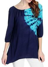 NEW OSO Casuals Tie-Dyed Woven 3/4 Raglan Sleeve Button Detailed Sharkbite Top M
