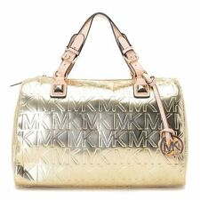 Michael Kors Signature Grayson Mirror Metallic Pale Gold Logo Satchel  MSRP $269