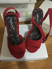 Forever 21 Red Suede Ankle Strap Wedge Heel Size7