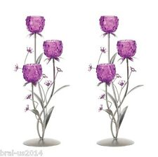 2 Pink Candelabra Large Tall Silvery Candle Holder Wedding Centerpieces