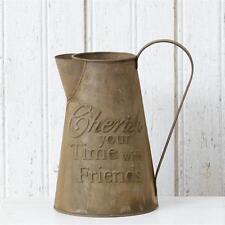 """Primitive Country Farmhouse Vintage Style """" CHERISH FRIENDS """" Decorative Pitcher"""