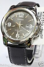MTP-1314L-8A Black Casio Genuine Leather Band Watch 50M Date Analog Brand-New